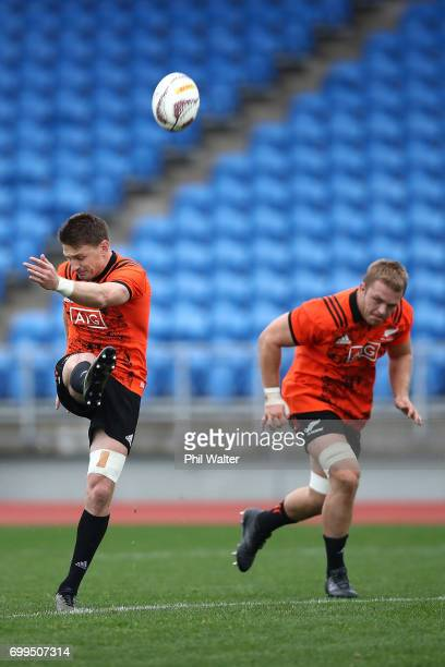 Beauden Barrett of the All Blacks during a New Zealand All Blacks training session at Trusts Stadium on June 22 2017 in Auckland New Zealand