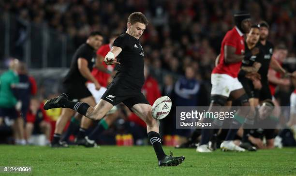 Beauden Barrett of the All Blacks kicks the ball upfield during the Test match between the New Zealand All Blacks and the British Irish Lions at Eden...