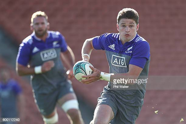 Beauden Barrett of the All Blacks passes during the New Zealand All Blacks training session at Waikato Stadium on September 8 2016 in Hamilton New...