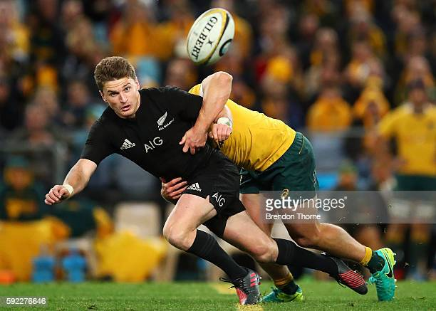 Beauden Barrett of the All Blacks passes the ball to a team mate during the Bledisloe Cup Rugby Championship match between the Australian Wallabies...