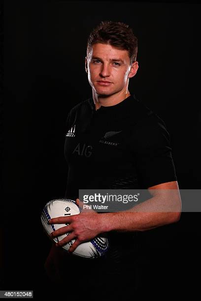 Beauden Barrett of the All Blacks poses for a portrait during a New Zealand All Blacks portrait session at the George Hotel on July 10 2015 in...