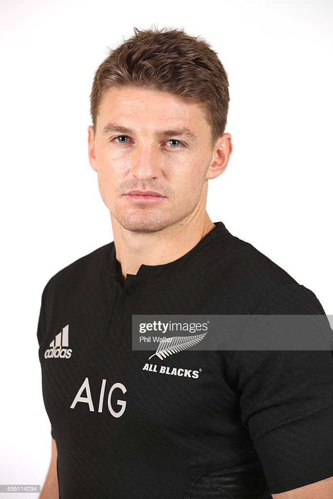 <a gi-track='captionPersonalityLinkClicked' href=/galleries/search?phrase=Beauden+Barrett&family=editorial&specificpeople=7264286 ng-click='$event.stopPropagation()'>Beauden Barrett</a> of the All Blacks poses for a portrait during a New Zealand All Black portrait session on May 29, 2016 in Auckland, New Zealand.