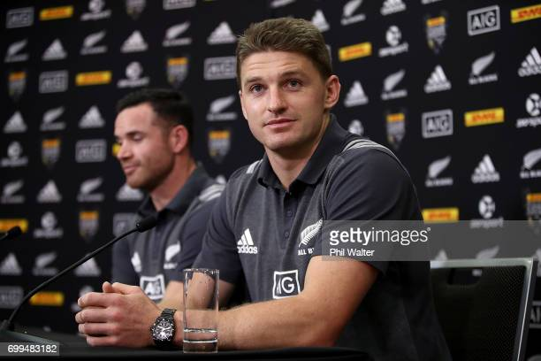 Beauden Barrett of the All Blacks speaks to media ahead of a New Zealand All Blacks training session at Trusts Stadium on June 22 2017 in Auckland...