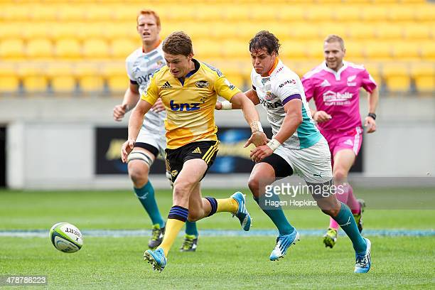 Beauden Barrett of the Hurricanes chases his own kick during the round five Super Rugby match between the Hurricanes and the Cheetahs at Westpac...