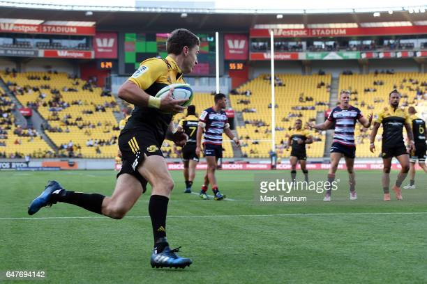 Beauden Barrett of the Hurricanes crosses the try line during the round two Super Rugby match between the Hurricanes and the Rebels at Westpac...