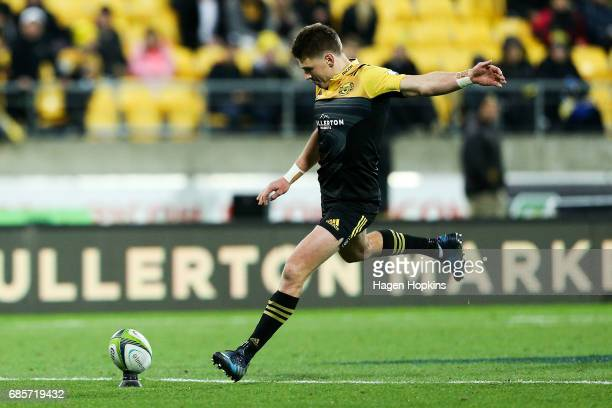 Beauden Barrett of the Hurricanes kicks a conversion during the round 13 Super Rugby match between the Hurricanes and the Cheetahs at Westpac Stadium...