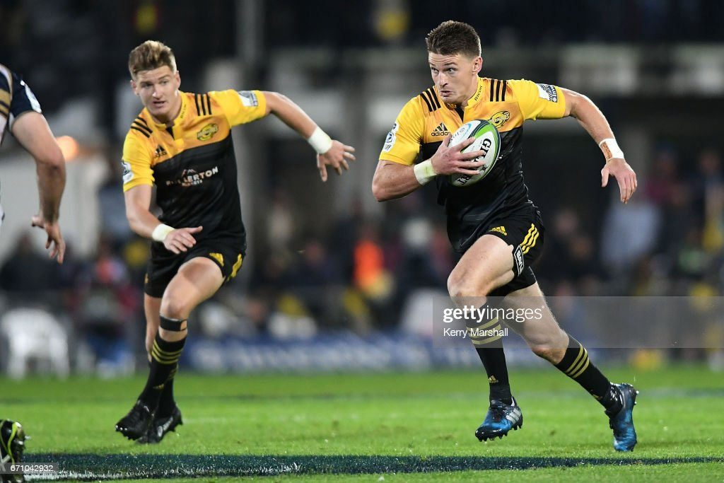 Beauden Barrett of the Hurricanes makes a break during the round nine Super Rugby match between the Hurricanes and the Brumbies at McLean Park on April 21, 2017 in Napier, New Zealand.