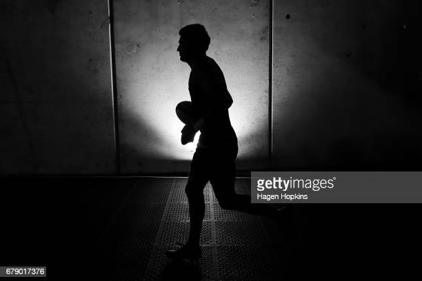 Beauden Barrett of the Hurricanes takes the field to warm up during the round 11 Super Rugby match between the Hurricanes and the Stormers at Westpac...