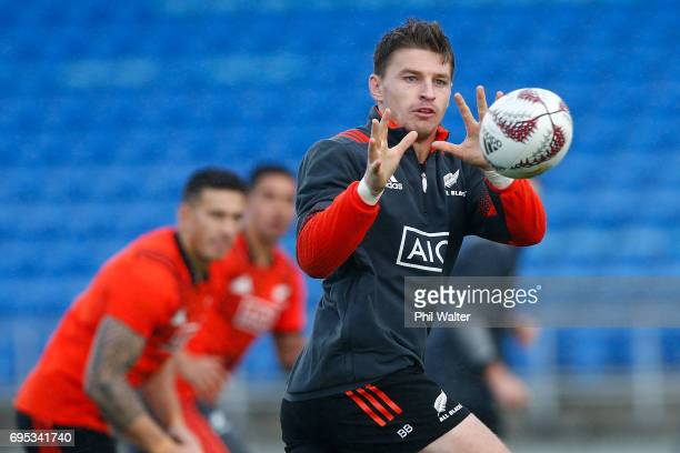 Beauden Barrett of the New Zealand All Blacks during a New Zealand All Blacks training session at Trusts Stadium on June 13 2017 in Auckland New...
