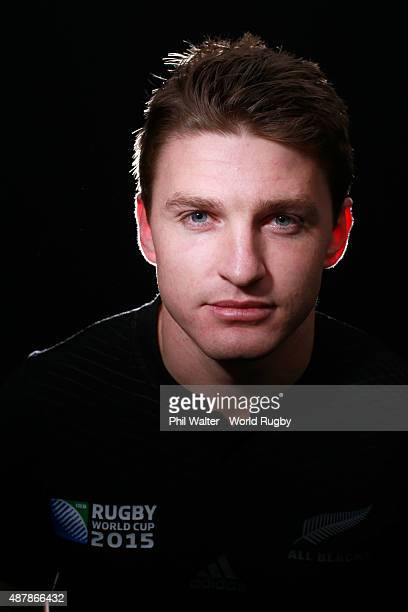 Beauden Barrett of the New Zealand All Blacks poses for a portrait during the New Zealand All Blacks Rugby World Cup 2015 squad photo call in London...
