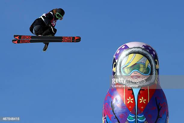 BeauJames Wells of New Zealand during a Ski Slopestyle official training session ahead of the the Sochi 2014 Winter Olympics at Rosa Khutor Extreme...