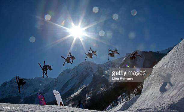 BeauJames Wells of New Zealand practices during training for Ski Slopestyle at the Extreme Park at Rosa Khutor Mountain on February 5 2014 in Sochi...