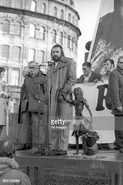 RK Beaumont secretary of the Maria Colwell Memorial Fund of 45 Ditchling Rise Brighton at the public meeting in Trafalgar Square London during Maria...
