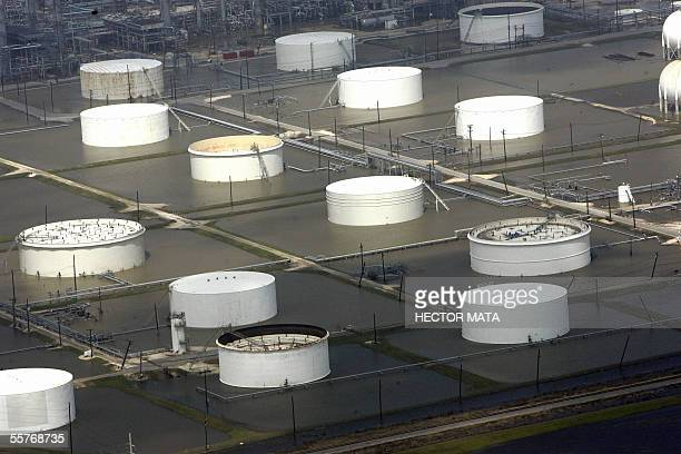 This aerial view shows a flooded oil refinery after Hurricane Rita in Beaumont Texas 25 September 2005 Hurricane Rita pounded the US Gulf Coast...