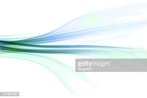 Beautiful abstract blue green smoke on a white background