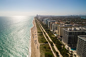 Beautiful aerial image of Miami Beach bright sunny day