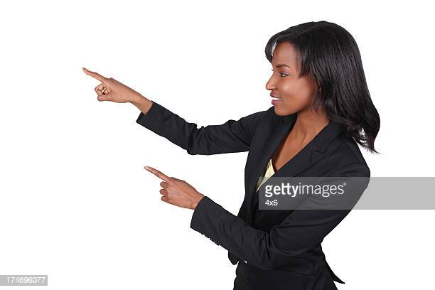 Beautiful African American Business Woman Pointing