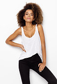 Beautiful african american female model with an afro hairstyle