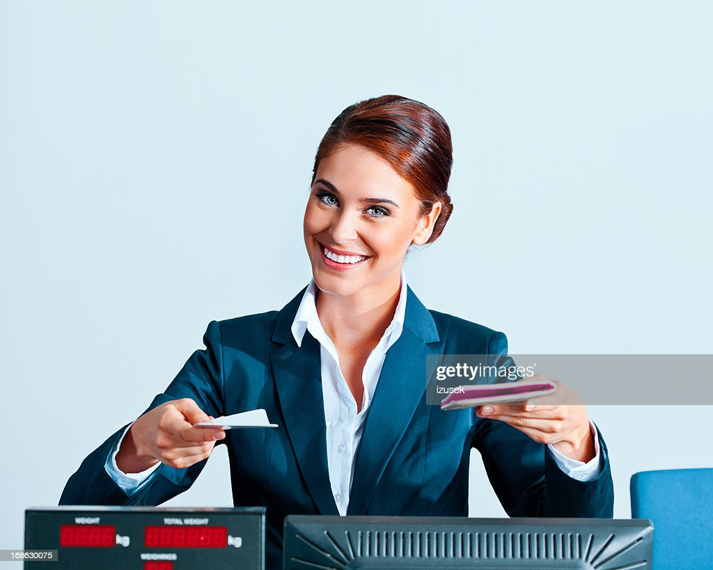 Beautiful airline check in attendant