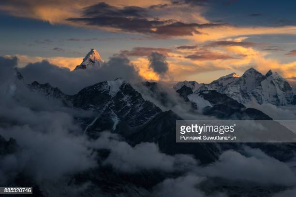 Beautiful Ama Dablam mountain peak at sunset on top of Kalapattar view point, Everest region, Nepal