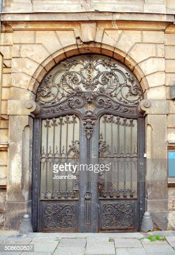 beautiful art nouveau door gate : Stock Photo