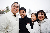 Winter portrait of a beautiful Asian family.