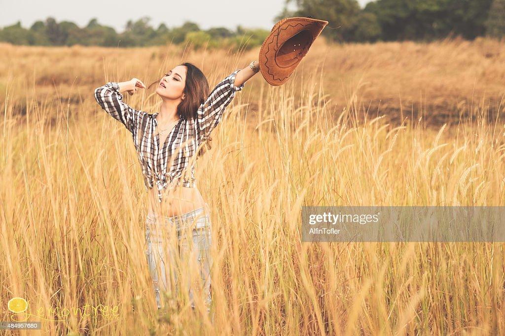Asian Girl Cowboy Hat