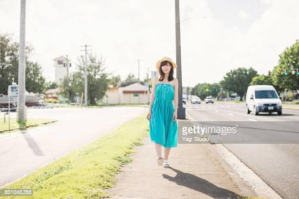 Beautiful Asian woman traveler in Guam