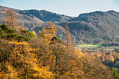 Stunning Autumn Fall landscape image of the view from Catbells near Derwentwater in the Lake District with vibrant Fall colors all around the contryside vista