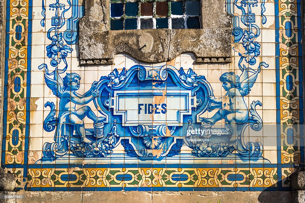 Beautiful azulejos decoration in Porto : Stockfoto