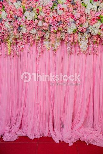 Bela Mural Flores Pronto Para A Cerimónia De Casamento Foto De Stock