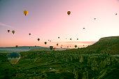Beautiful balloons in sunrise light in Cappadocia