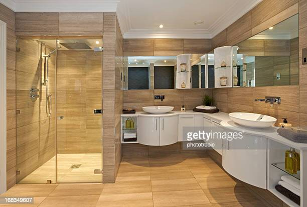 beautiful bathroom suite in fossil marble