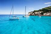 Beautiful bay with sailing boats, Paxos island, Greece