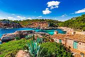 Idyllic view of Cala S'Almunia at the beautiful seaside of Mallorca, Spain Balearic Islands