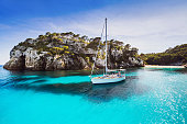 Yacht in Mediterranean sea, Menorca island, Spain