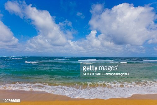 Beautiful beach beneath puffy clouds in blue sky. Kauai, Hawaii, USA : Stock Photo