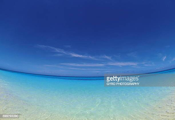 Beautiful beach, fish-eye lens, Miyako island, Okinawa prefecture, Japan