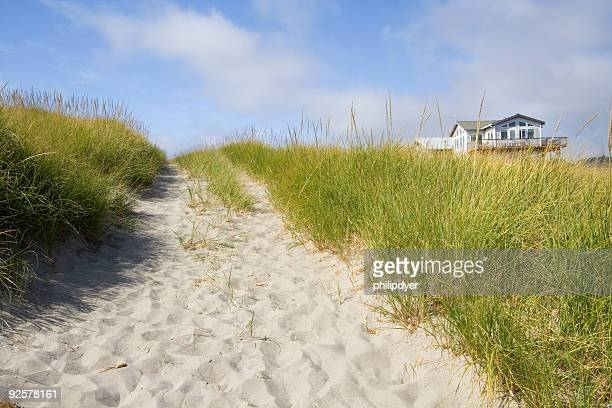 A beautiful beach house surrounded by grasses
