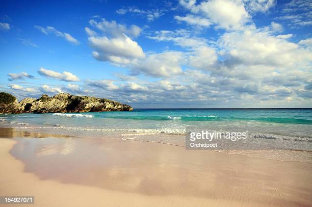 Beautiful beach in Bermuda with blue sea and clouds