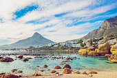 Vintage shot of a Beautiful beach in Cape Town, with Lion's Head mountain