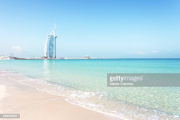 Beautiful beach in Dubai with Burj Al Arab, UAE