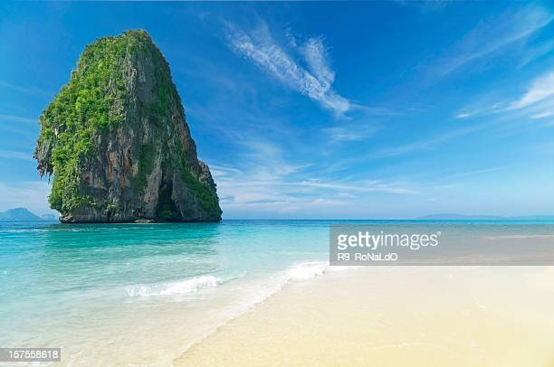 Beautiful beach in paradise with clear water and blue skies