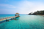 view of paradise island with turquoise water