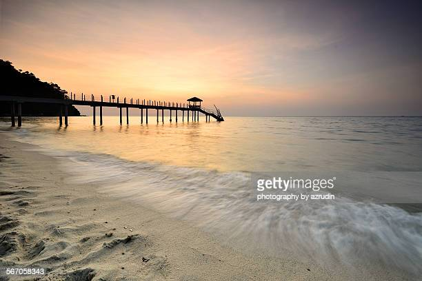 Beautiful beach with jetty and white sand