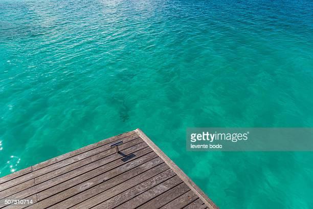 Beautiful beach with wodden jetty in Maldives