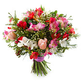 High angle view of bouquet. Freesia, Tulip and Alstroemeria flowers. White background.    [url=file_closeup.php?id=18850016][img]file_thumbview_approve.php?size=1&id=18850016[/img][/url] [url=file_clo