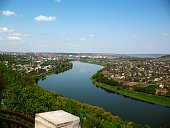 Beautiful bird's eye view on Soroca town, Moldova, the north-eastern part of the country. Situated on the border with Ukraine it stands on the right bank of the river Dniestr (Nistru), famous by Soroc