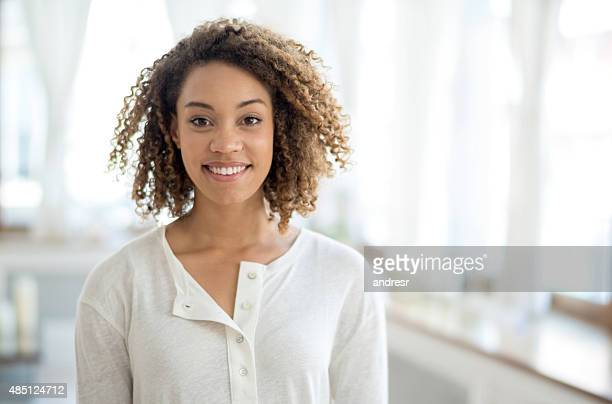 Beautiful black woman at home