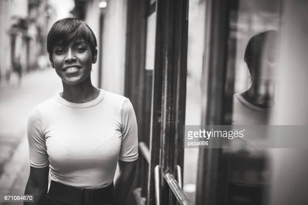 Beautiful black woman portrait in monochrome